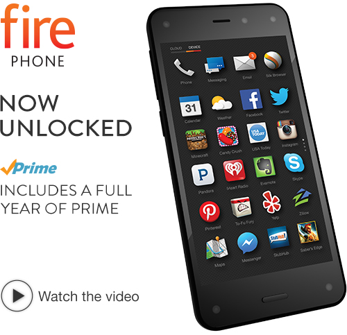 $100 prime member Unlocked GSM Amazon Fire Phone with 32GB Storage